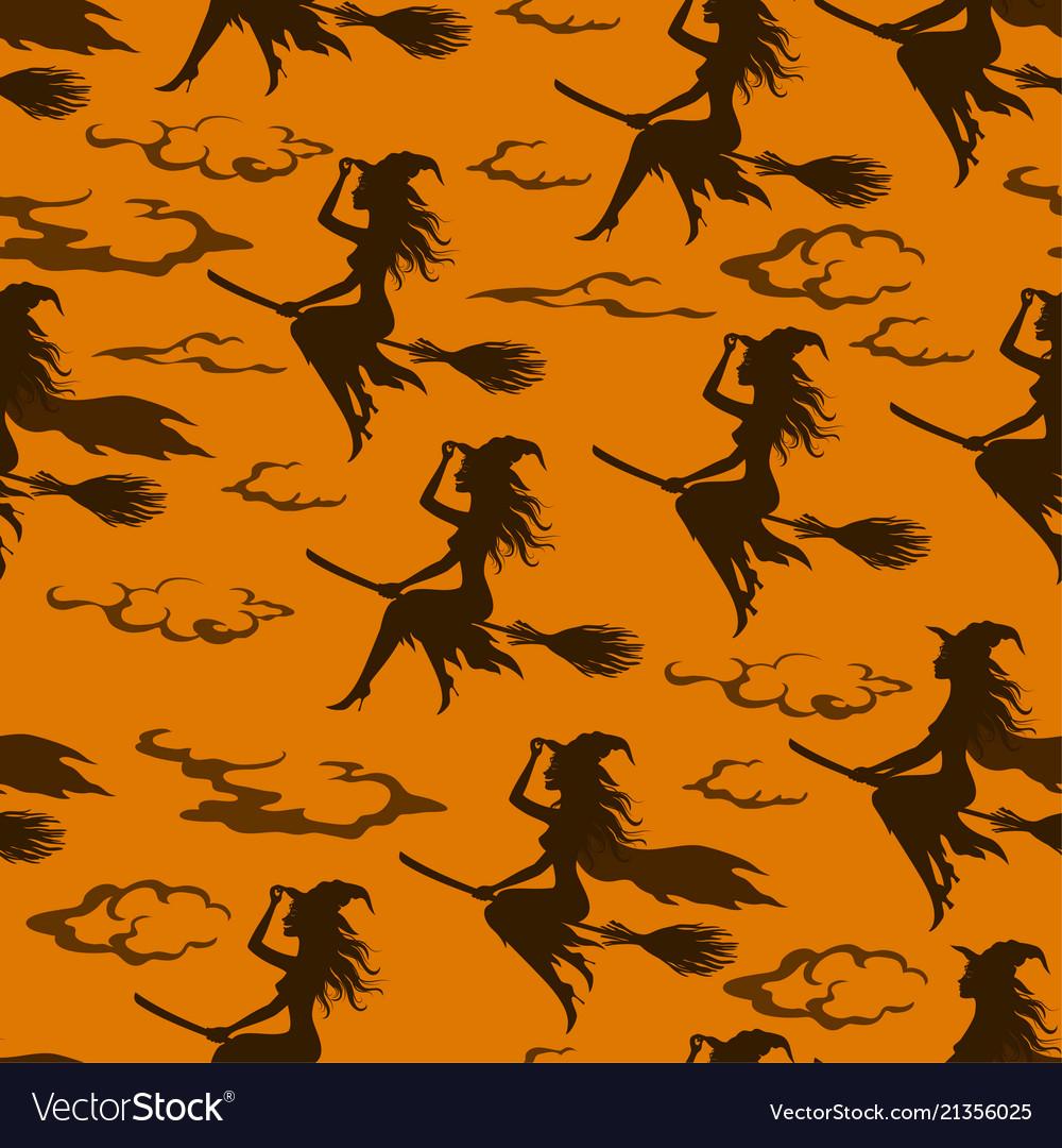 Halloween witch seamless pattern