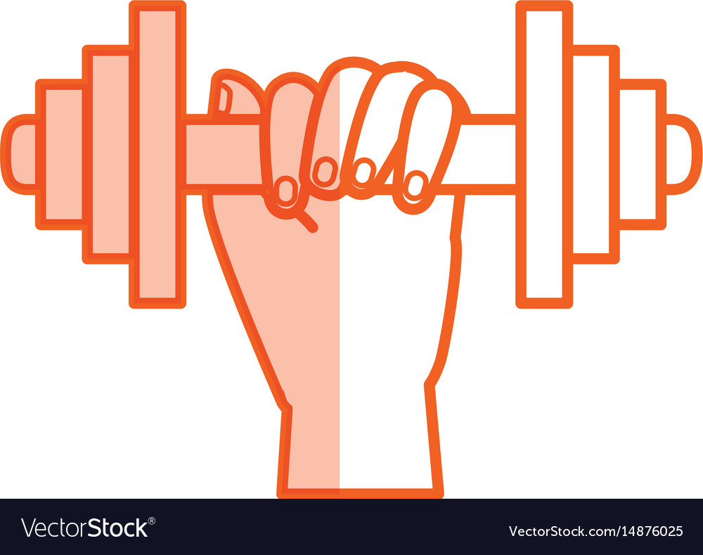 Hand human with weight lifting equipment icon