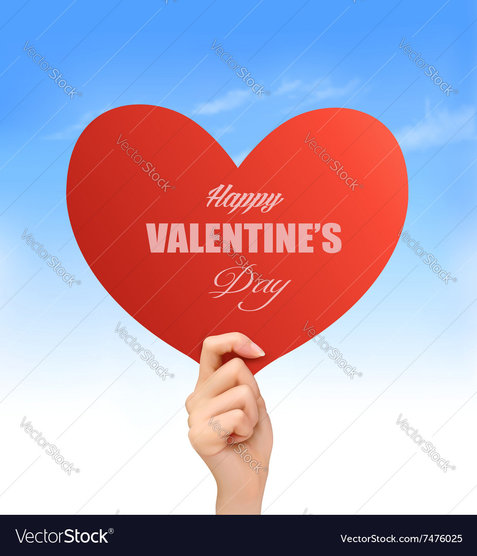 Holiday valentine background with hand holding red
