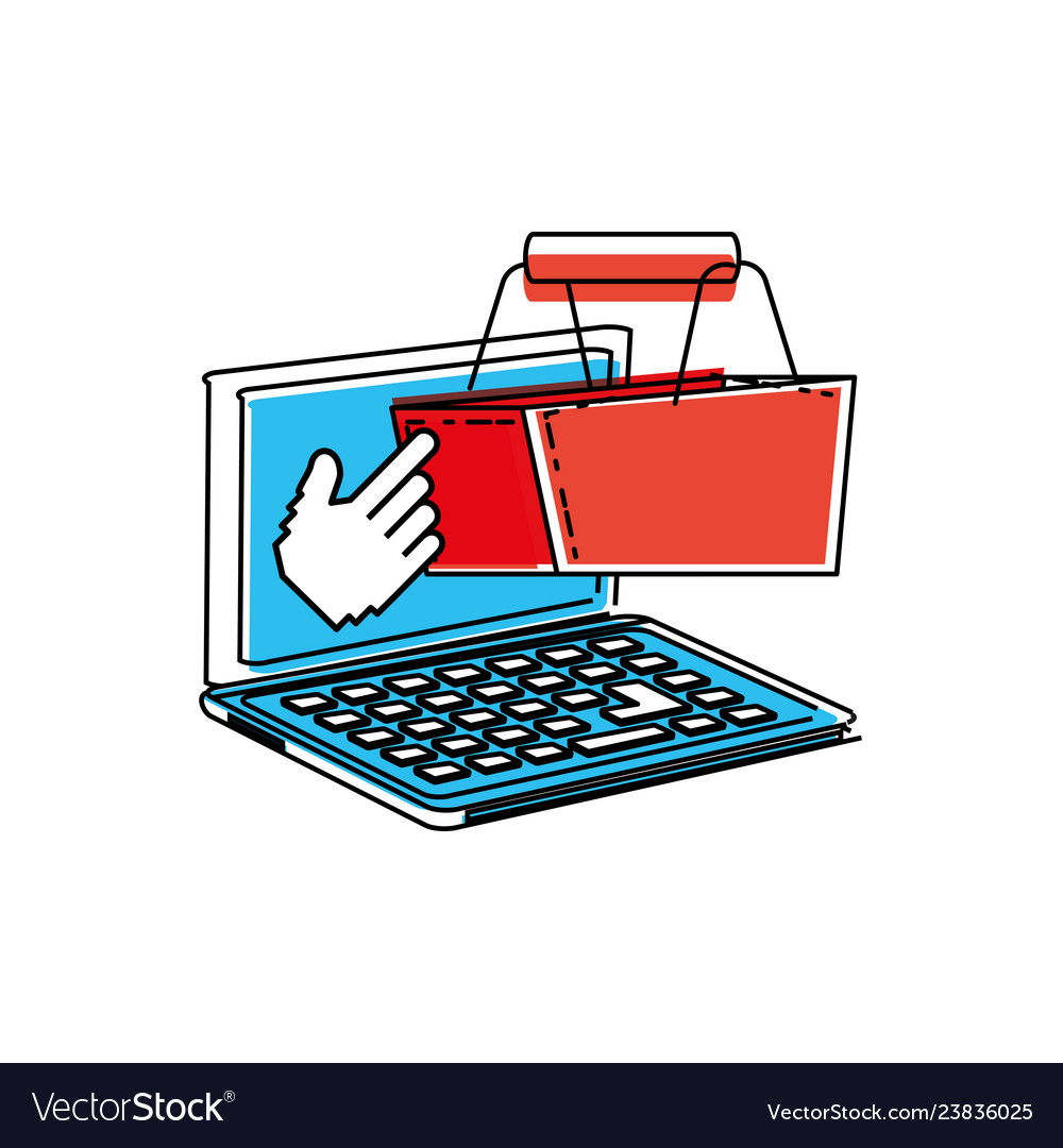 Laptop computer with shopping basket