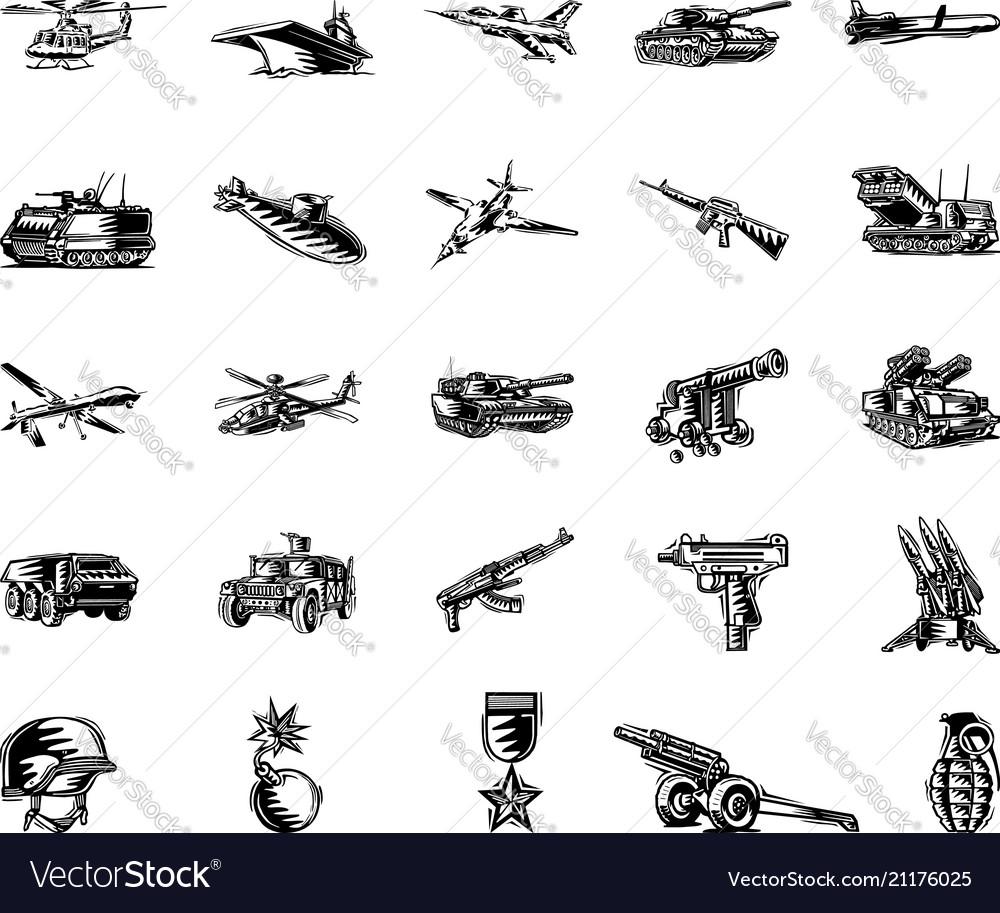 Military tool clipart cartoon set
