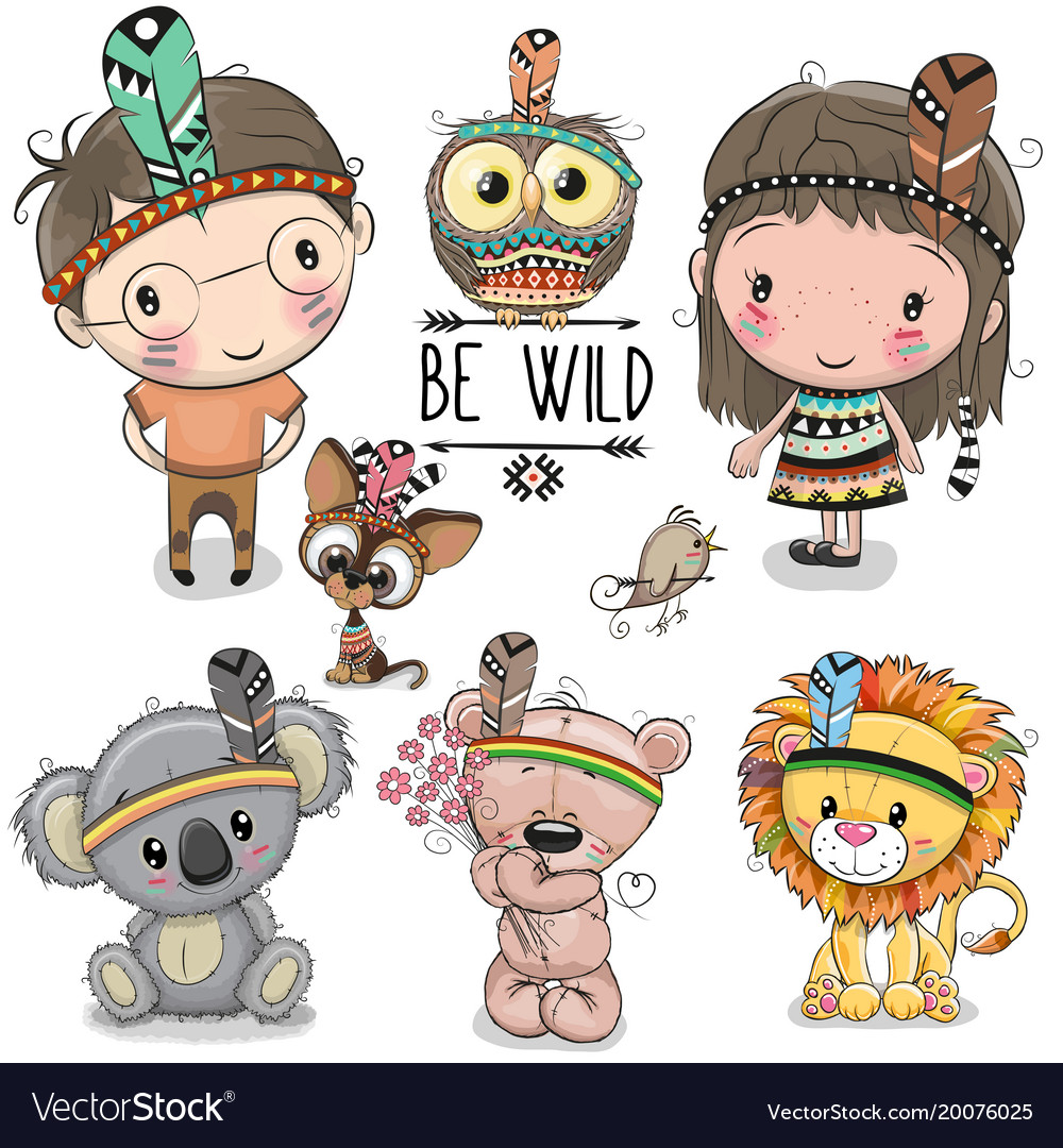 Set of cute tribal girl and boy and animals vector image