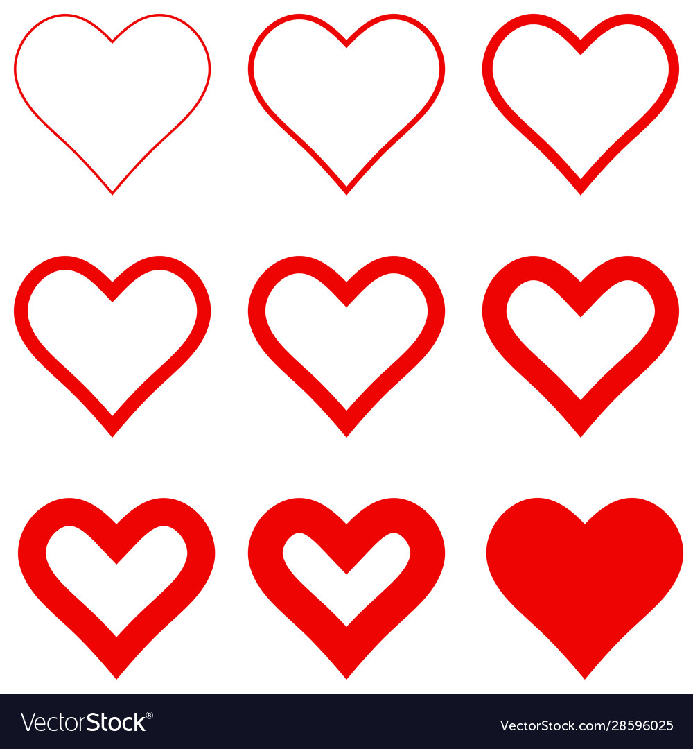 Set red hearts with different stroke thickness
