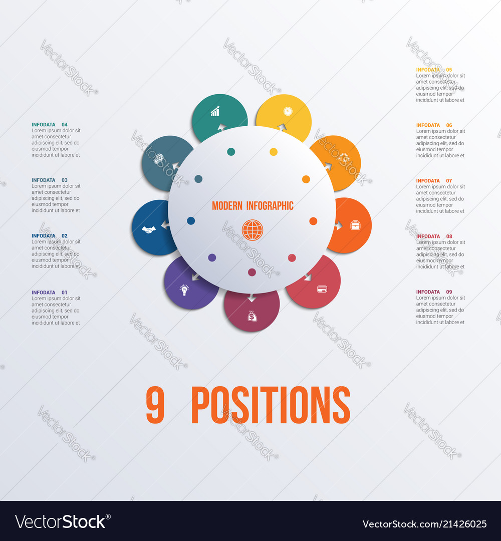 Template flower colorful infographics 9 positions