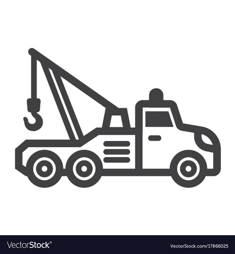 Tow truck line icon transport and vehicle