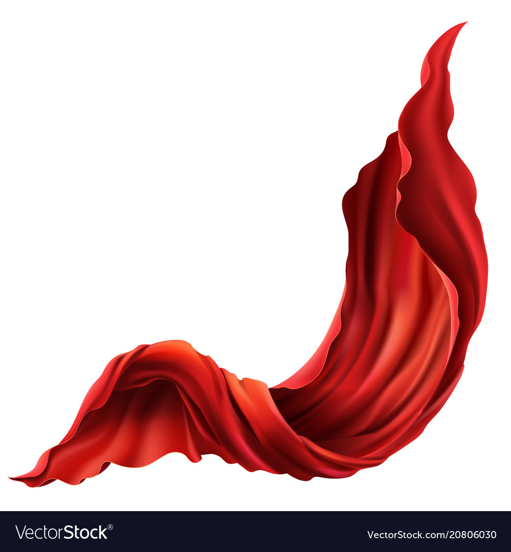 3d realistic flying flowing red fabric