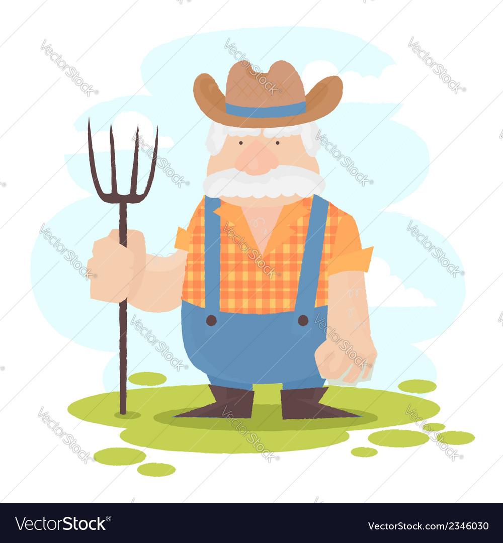A funny farmer cartoon character