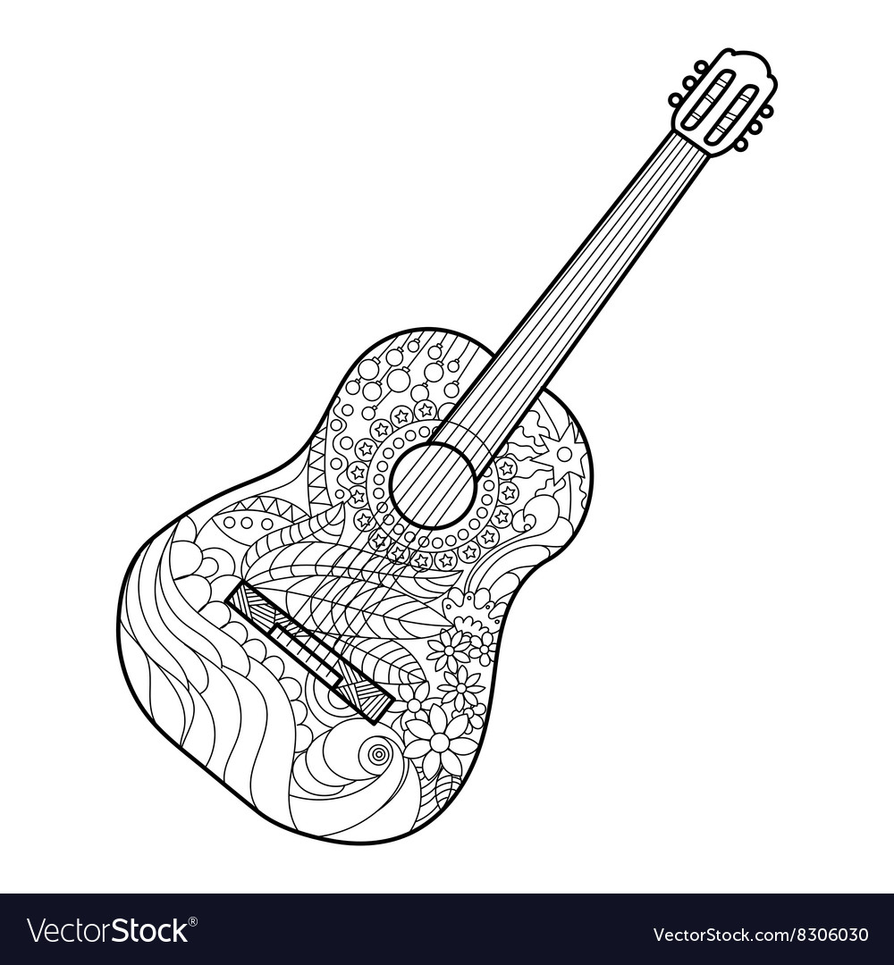 Acoustic guitar coloring book for adults