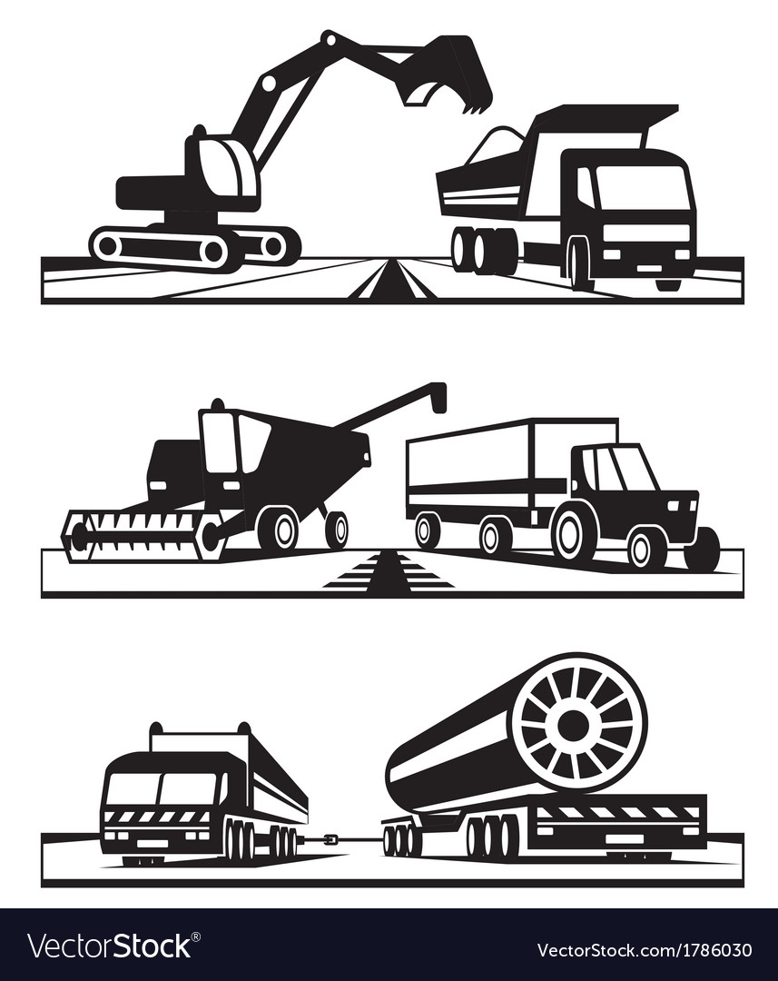 Construction and agricultural transportation vector image