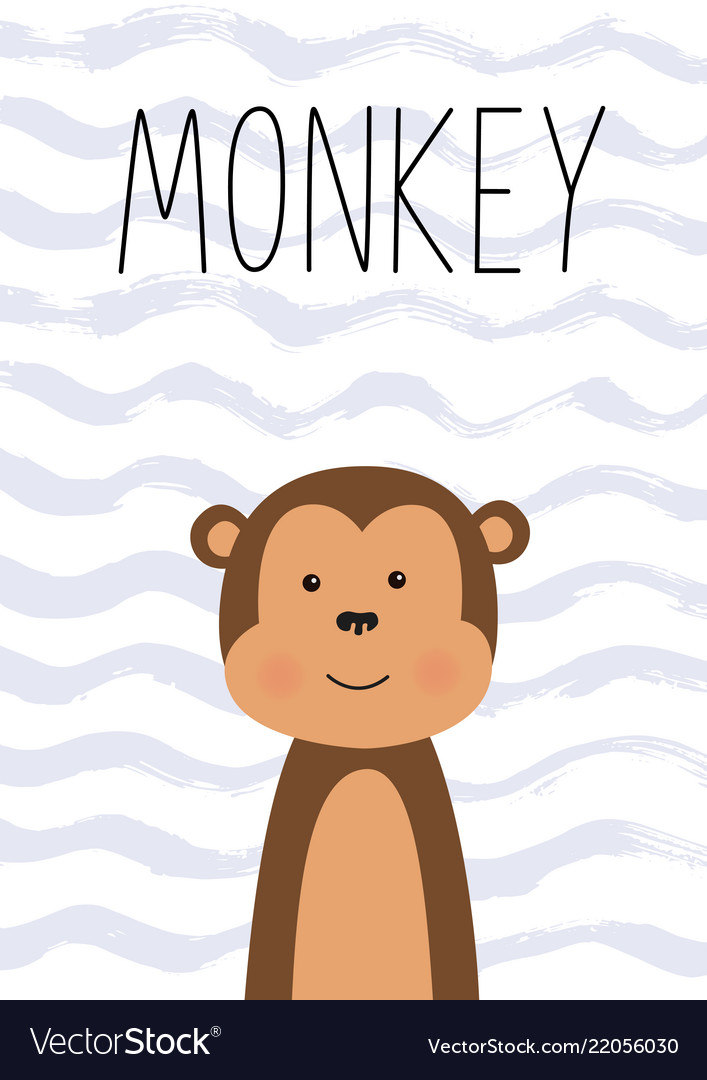 Cute monkey poster card for kids