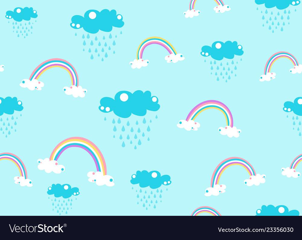 Cute unicorn rainbow and rain cloud seamless