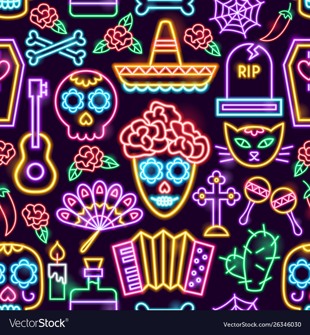 Day dead neon seamless pattern vector