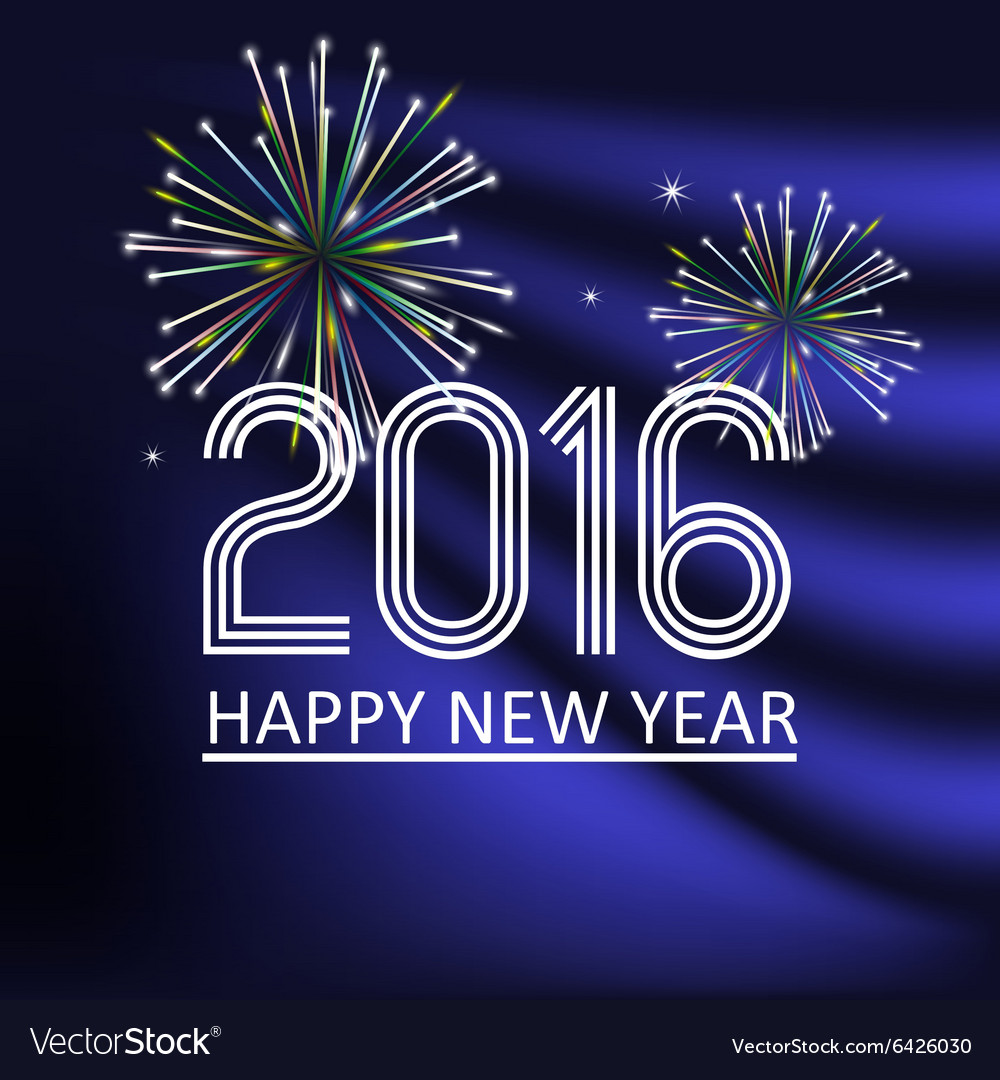 Happy new year 2016 on dark blue wave color