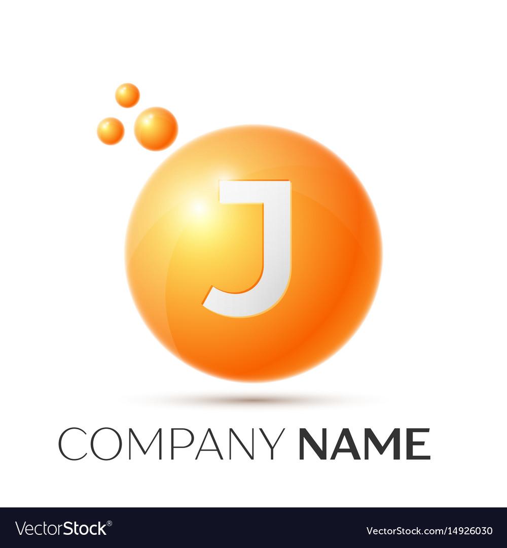 J letter splash orange dots and circle bubble vector image