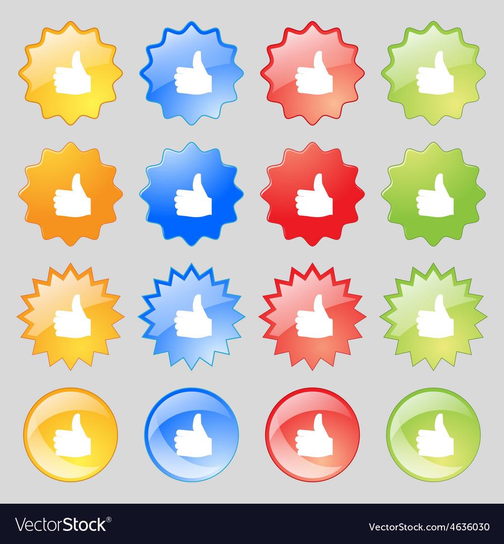Like Thumb up icon sign Big set of 16 colorful