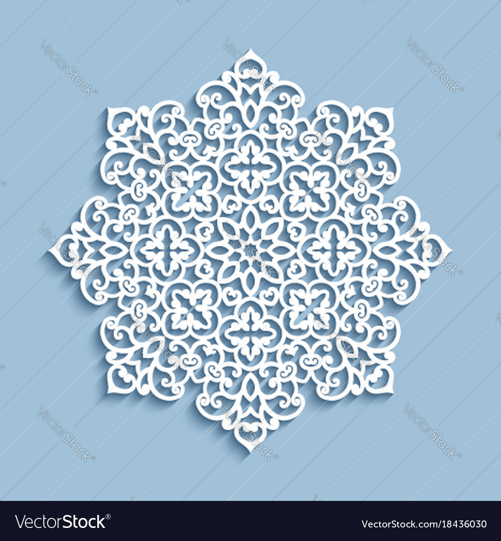 Paper Lace Doily Cutout Round Pattern Royalty Free Vector