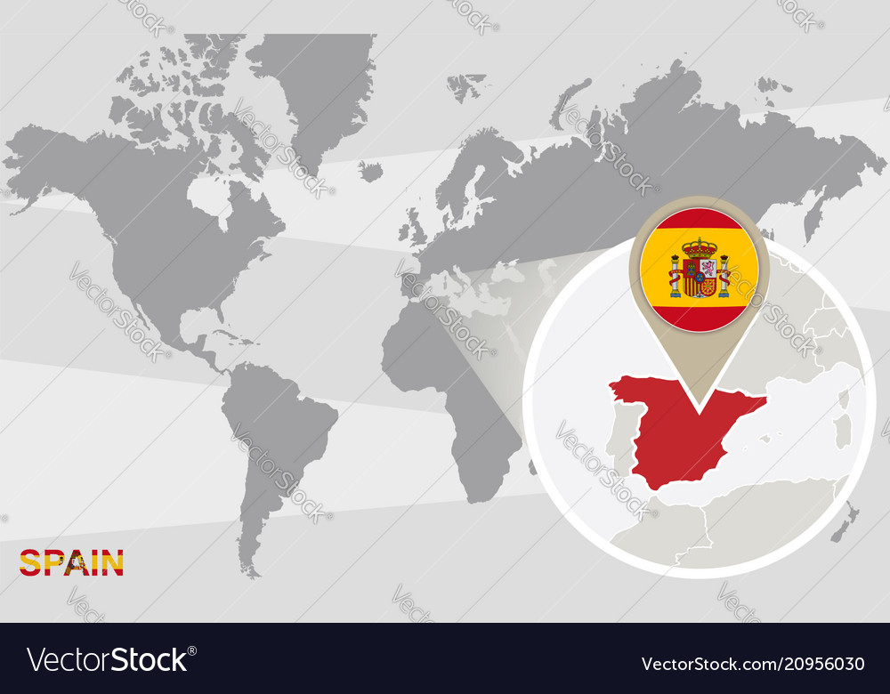 World map with magnified spain Royalty Free Vector Image