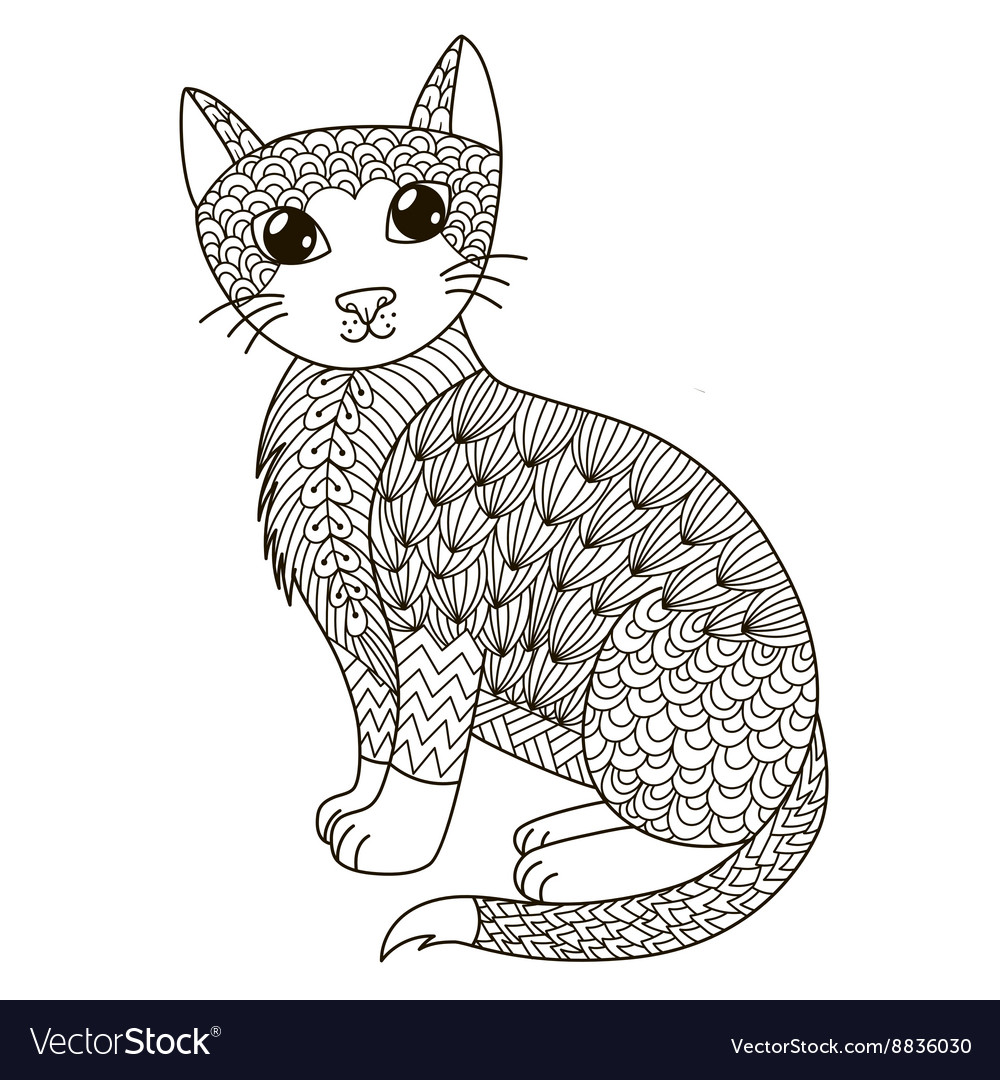 Zentangle Cat For Coloring Page Vector Image