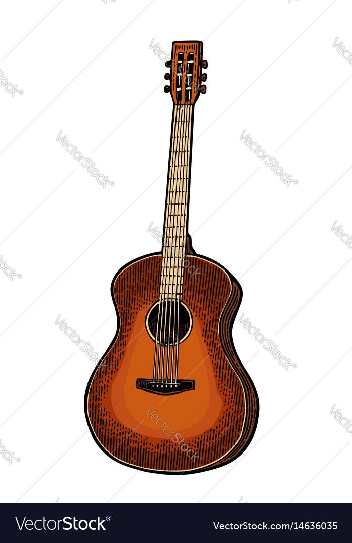 Acoustic guitar vintage black engraving