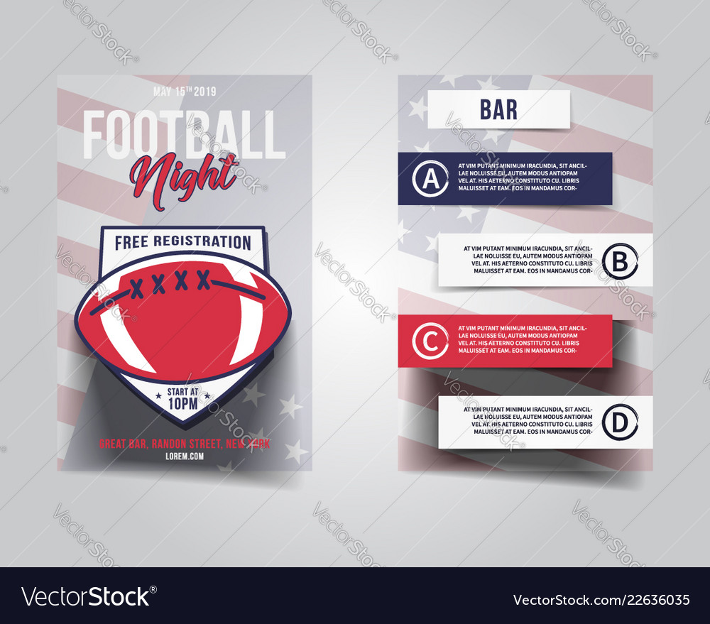 American football flyer sports party night layout