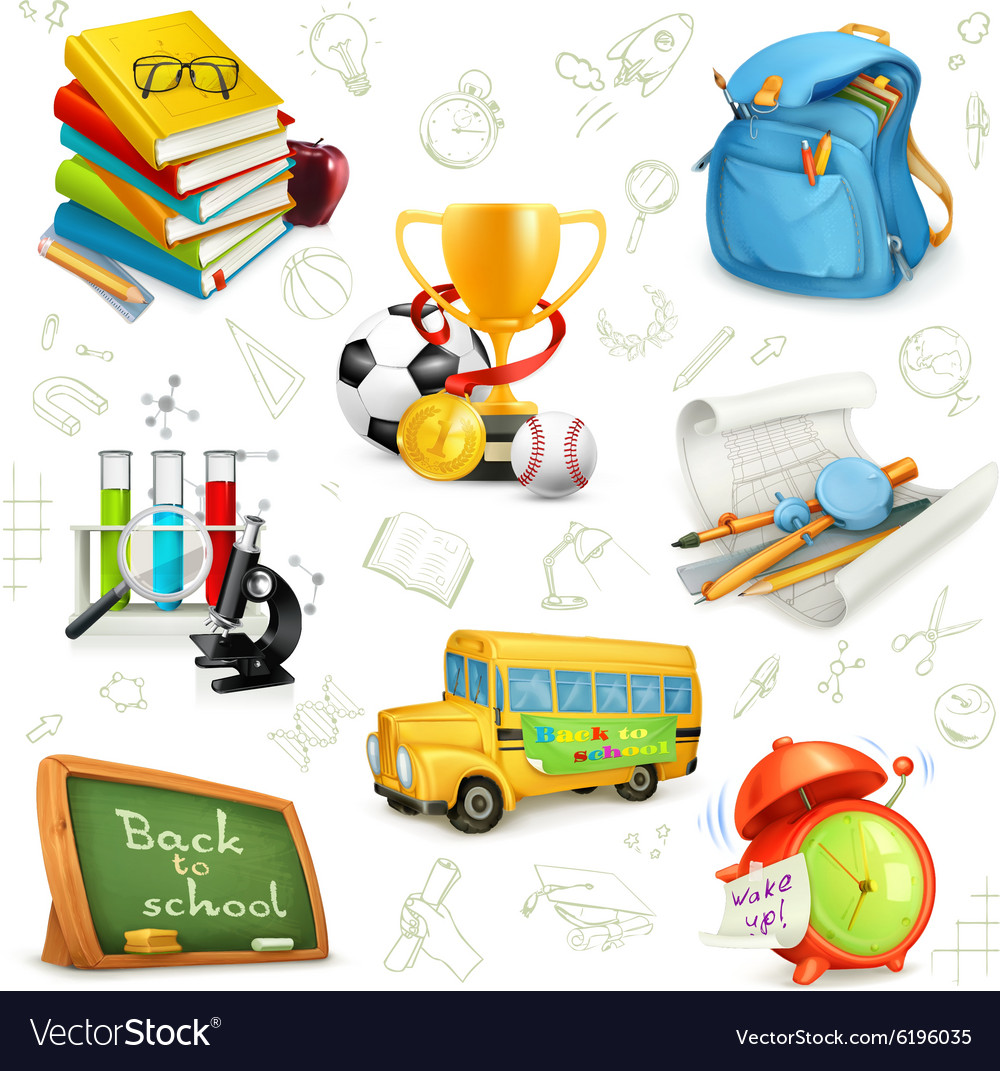 Back to school education and knowledge set icons