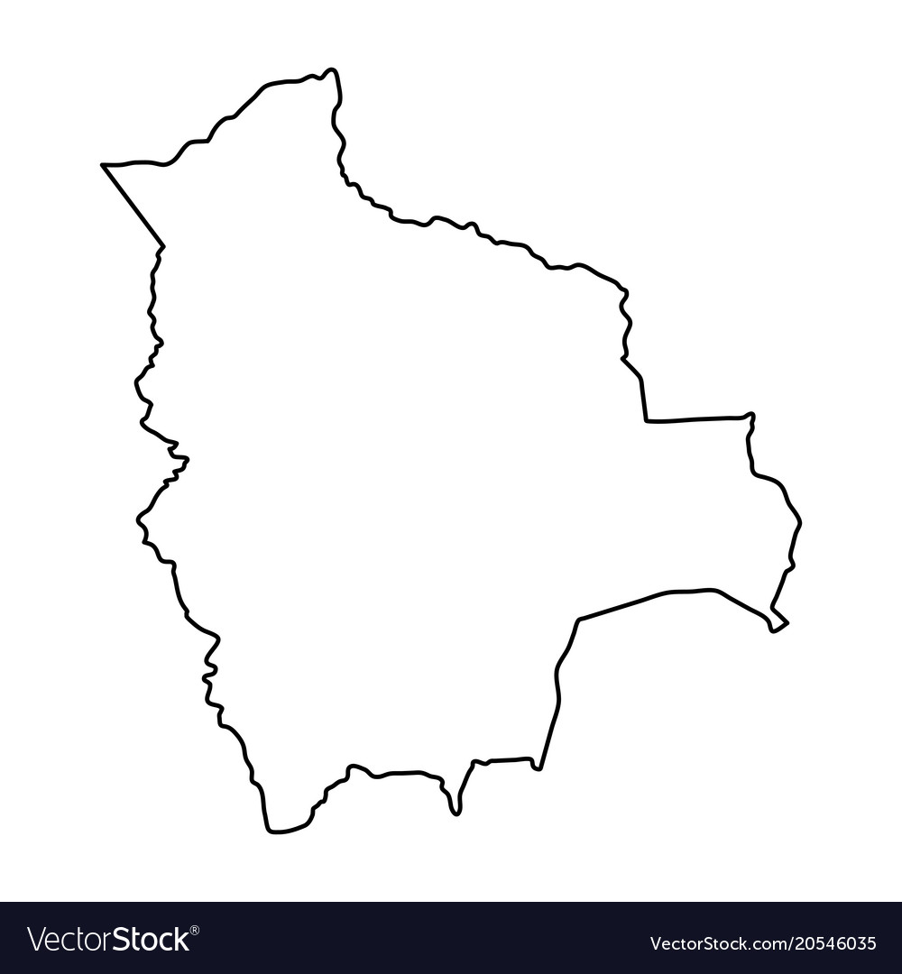 Bolivia map of black contour curves on white Vector Image