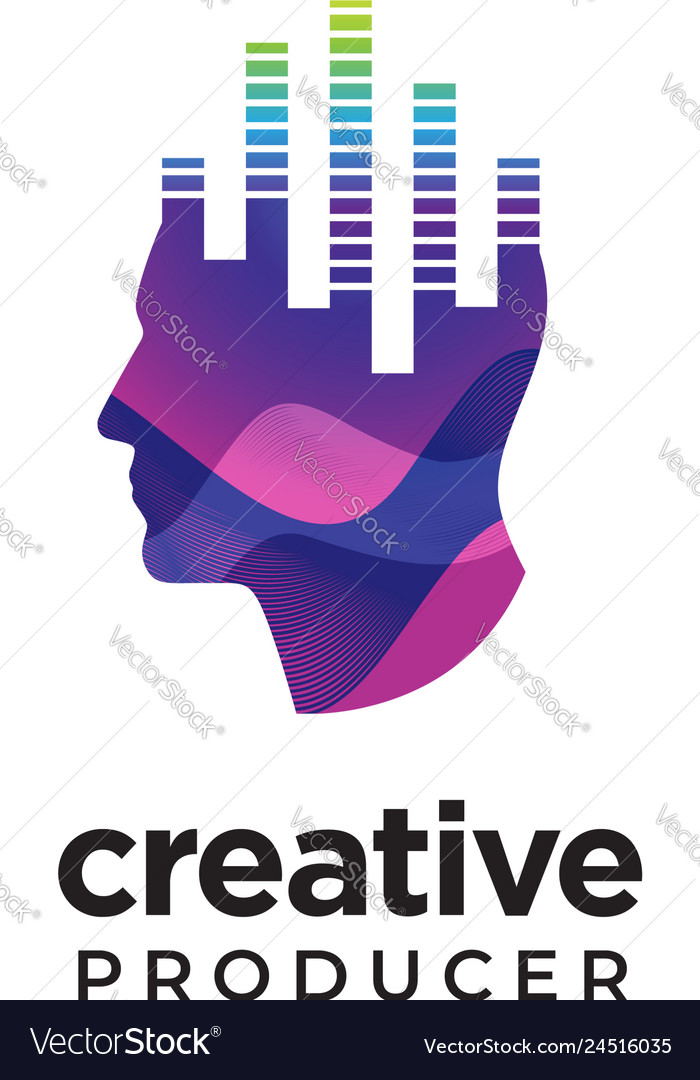 Digital abstract human head logo for creative