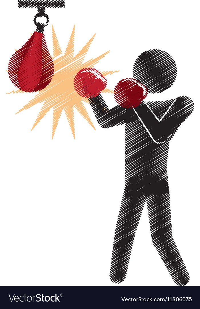 Drawing colored silhouette boxer punching pear vector image