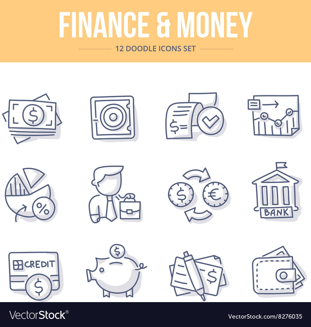 Finance Money Doodle Icons