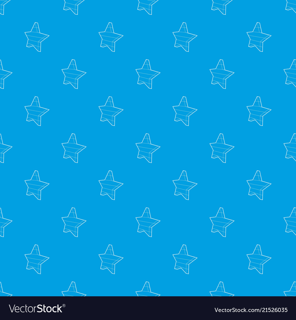 Five Pointed Star Pattern Seamless Blue Vector Image