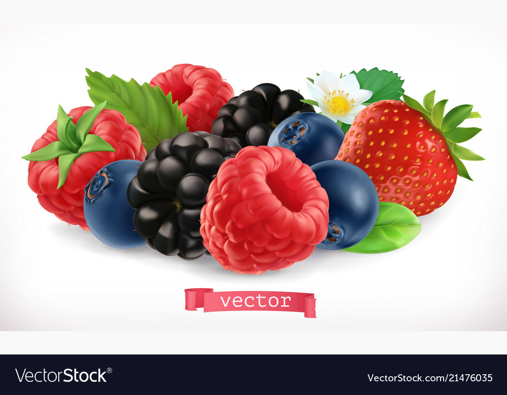 Forest fruits and berries raspberry strawberry