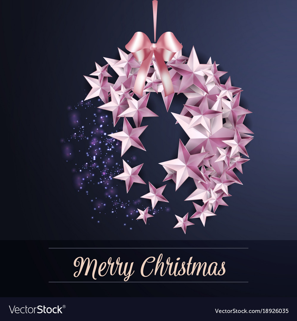 Merry christmas ball made from stars gift card Vector Image
