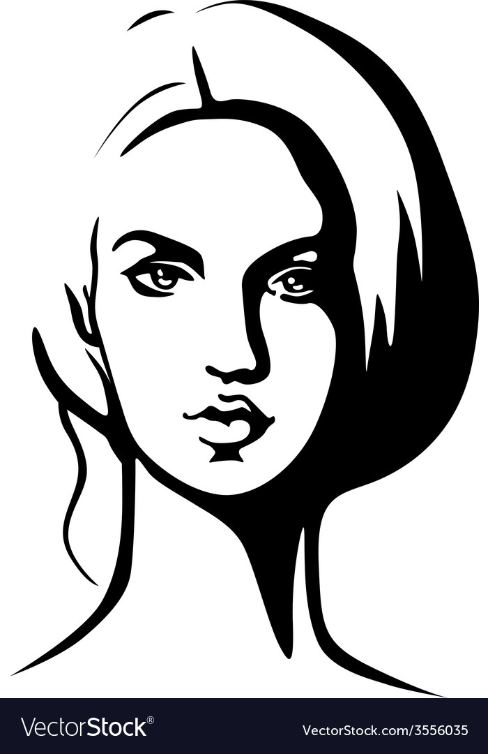 Portrait of beautiful young woman - black outline vector image