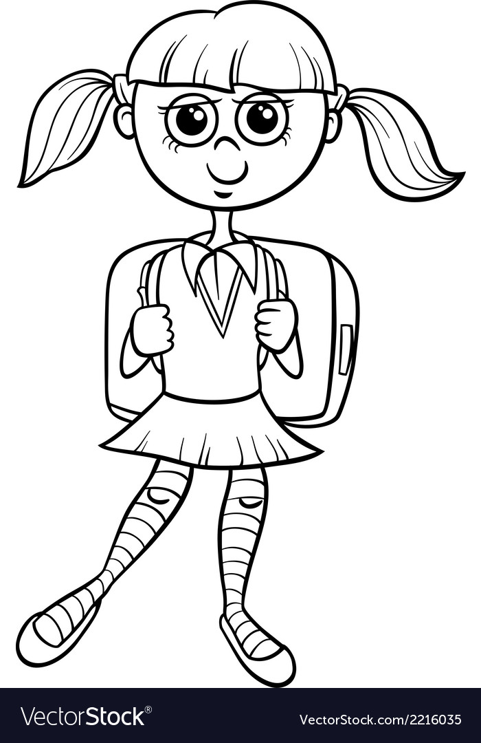 Primary school girl coloring book Royalty Free Vector Image