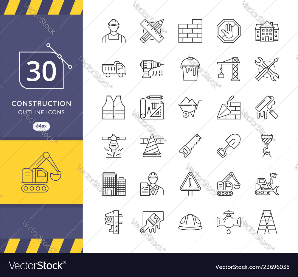 Simple set of construction related icons