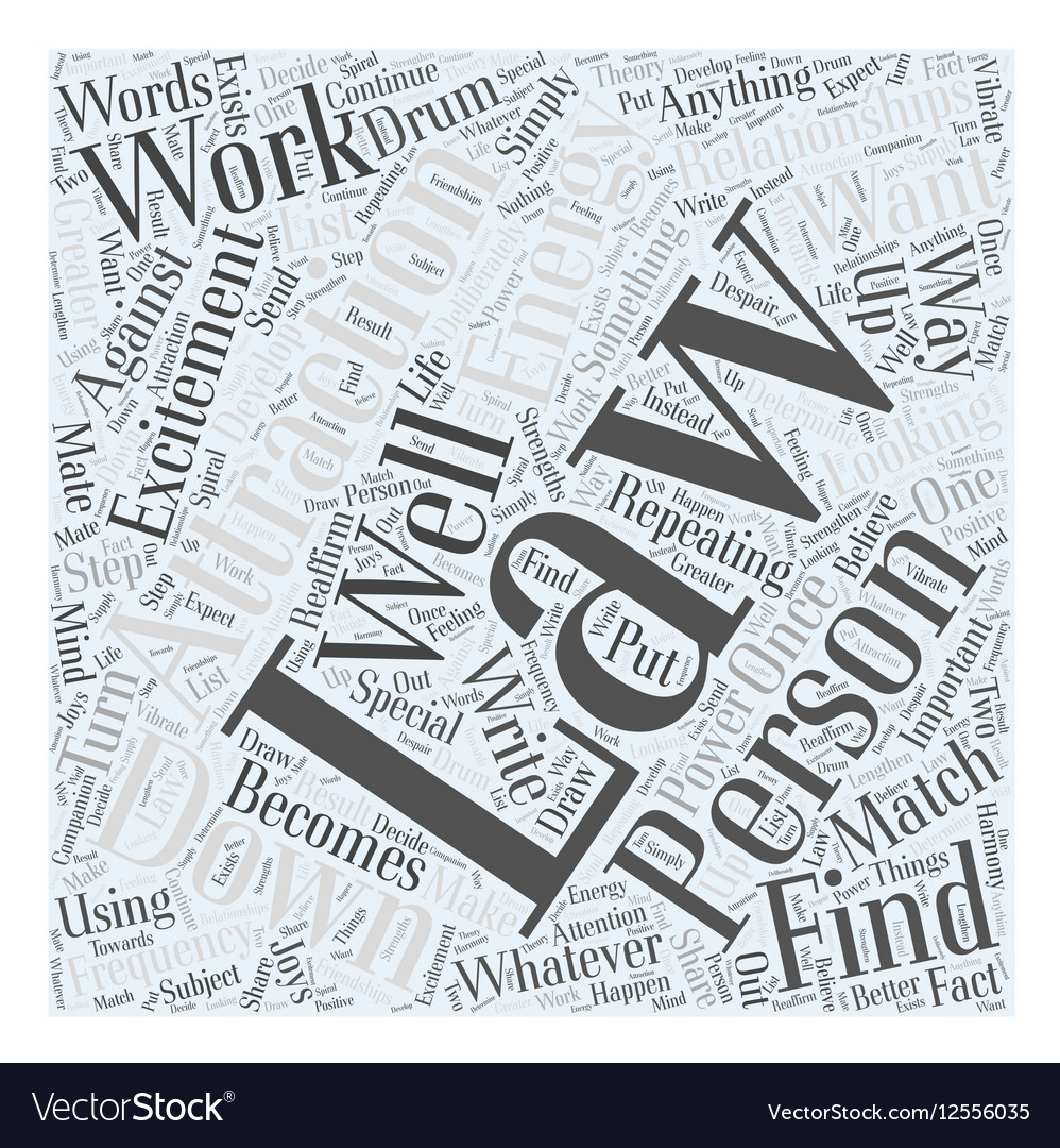 The law attraction and relationships word cloud