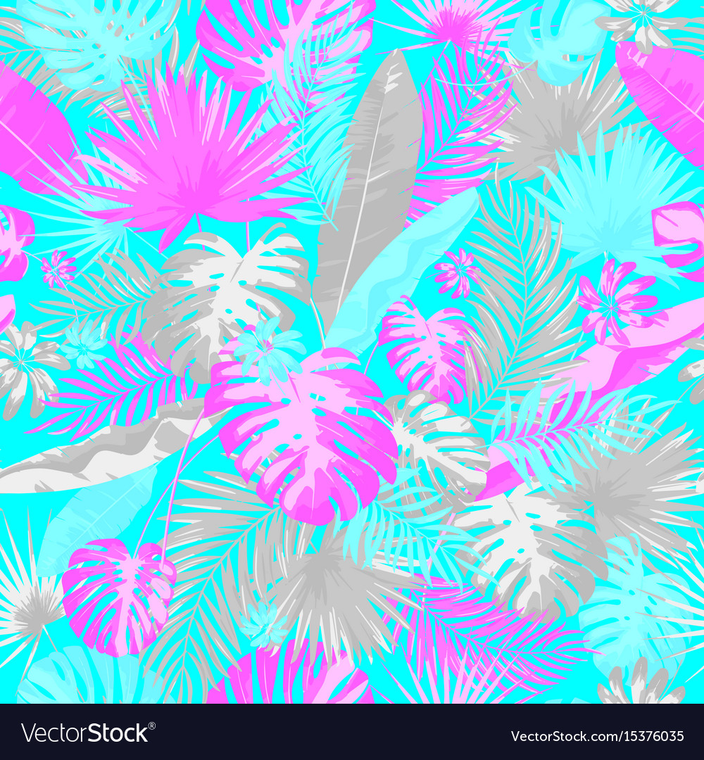 Tropical summer print with exotic leaves and