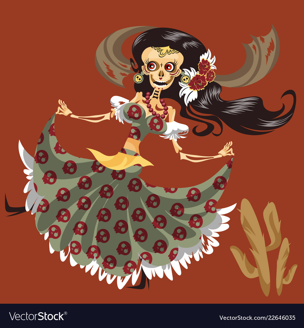 Woman skeleton in mystic dress dancing poster