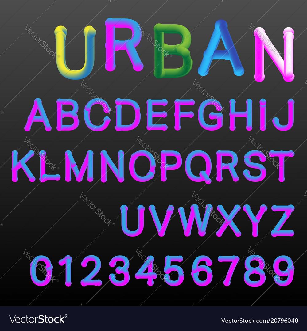 3d gradient colors alphabet font template