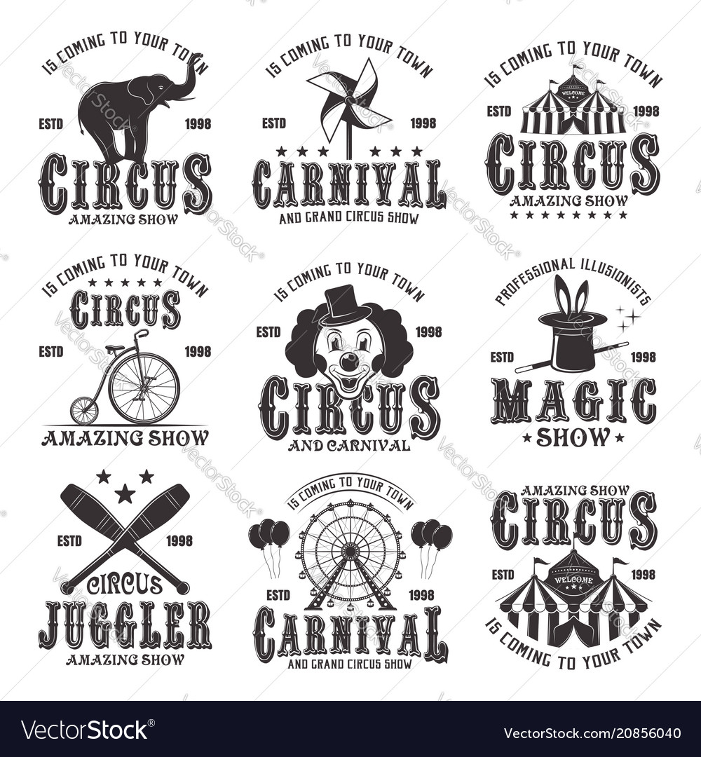 Circus amazing show set of black emblems