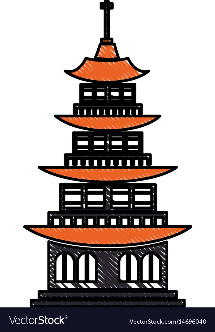 Drawing chinese building ancient temple tower