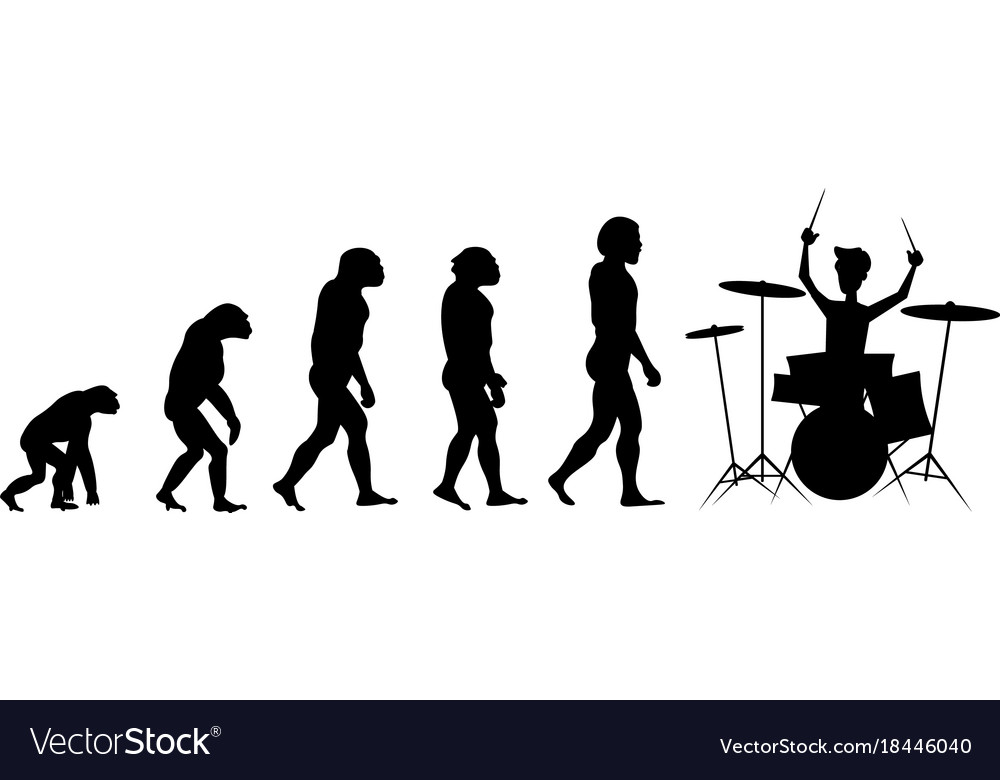 Evolution drummer silhouette on white background