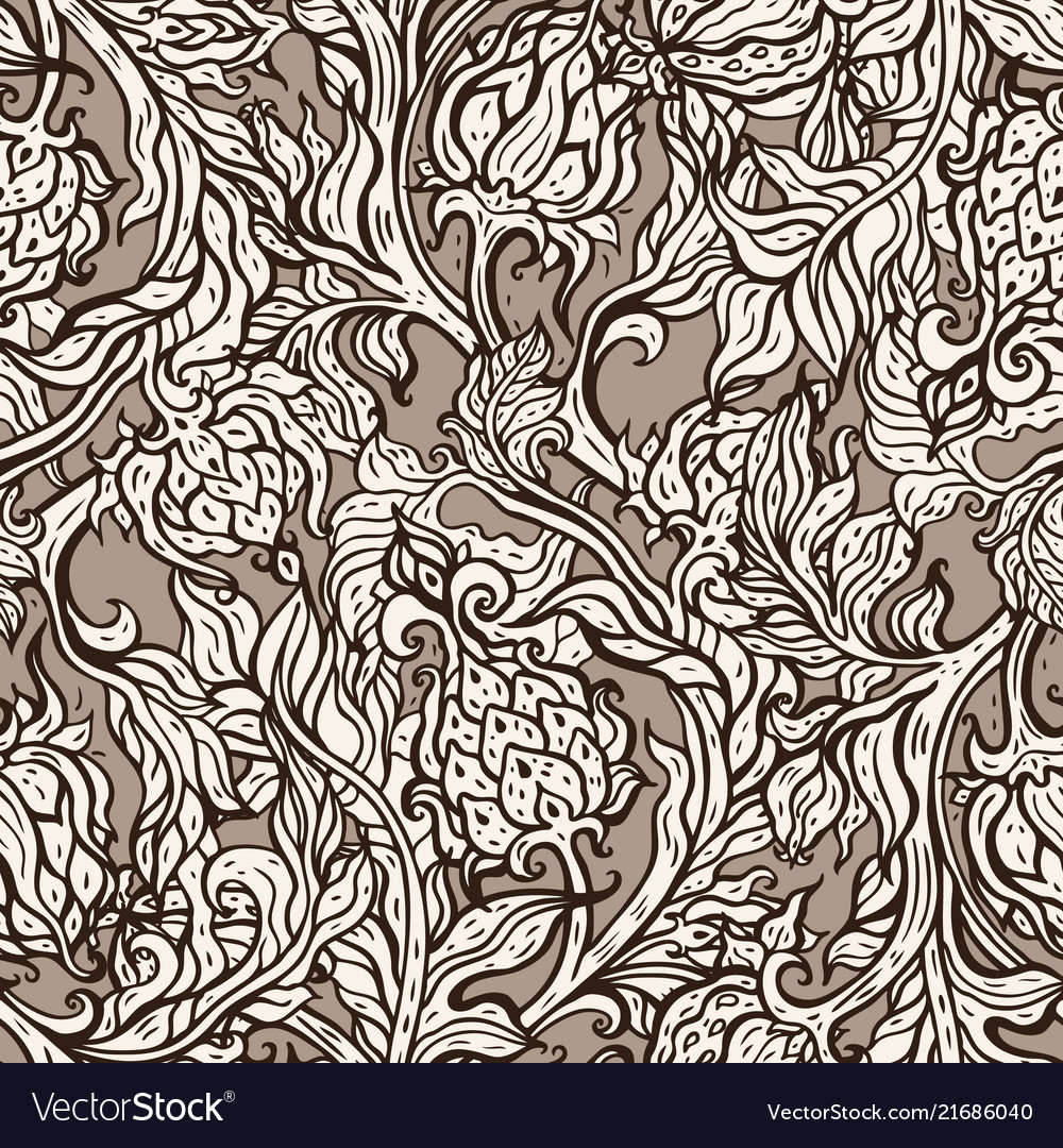Exotic garden hand drawn floral pattern vintage vector