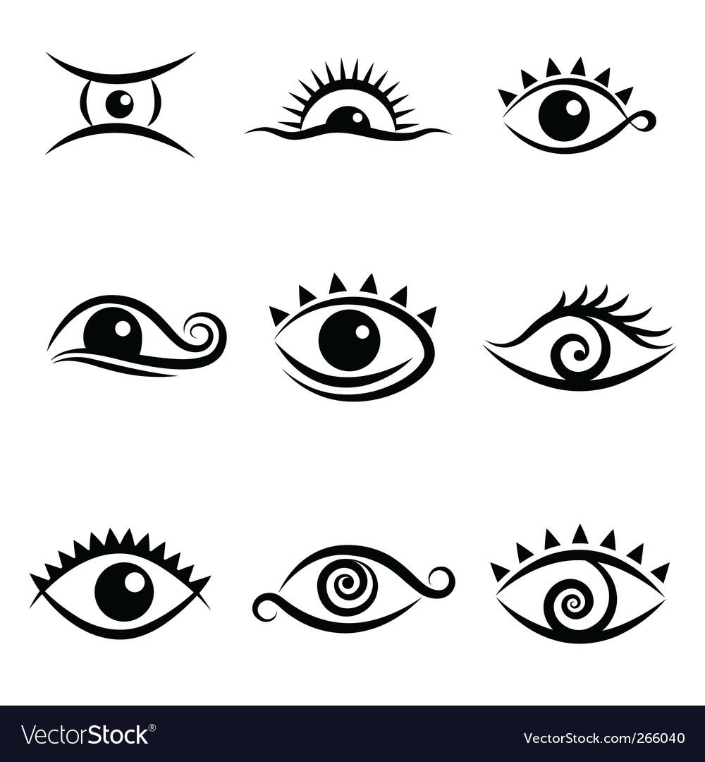 Eye Symbol Set Royalty Free Vector Image Vectorstock