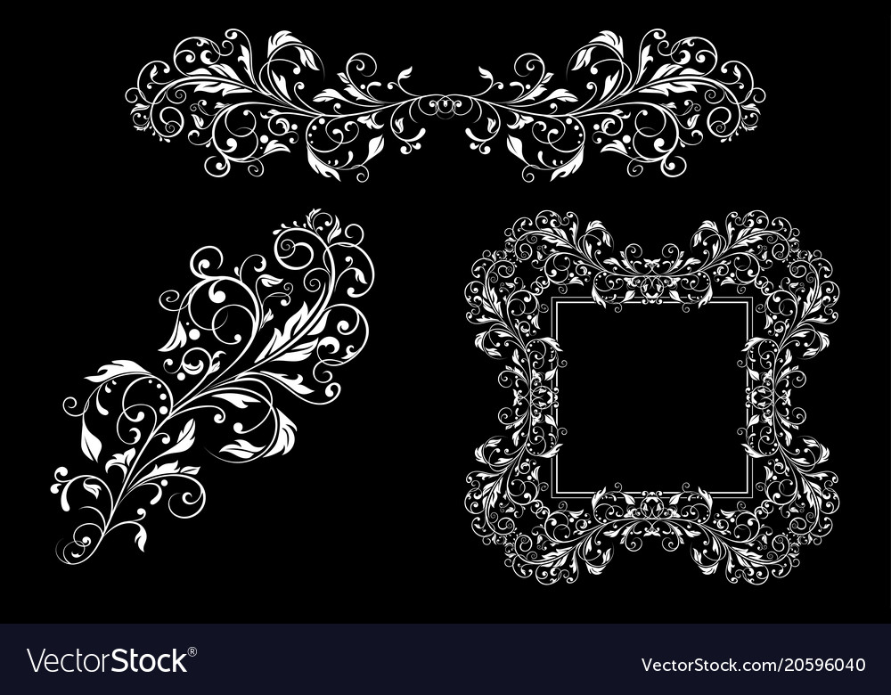 Floral decorative frame and ornaments wedding