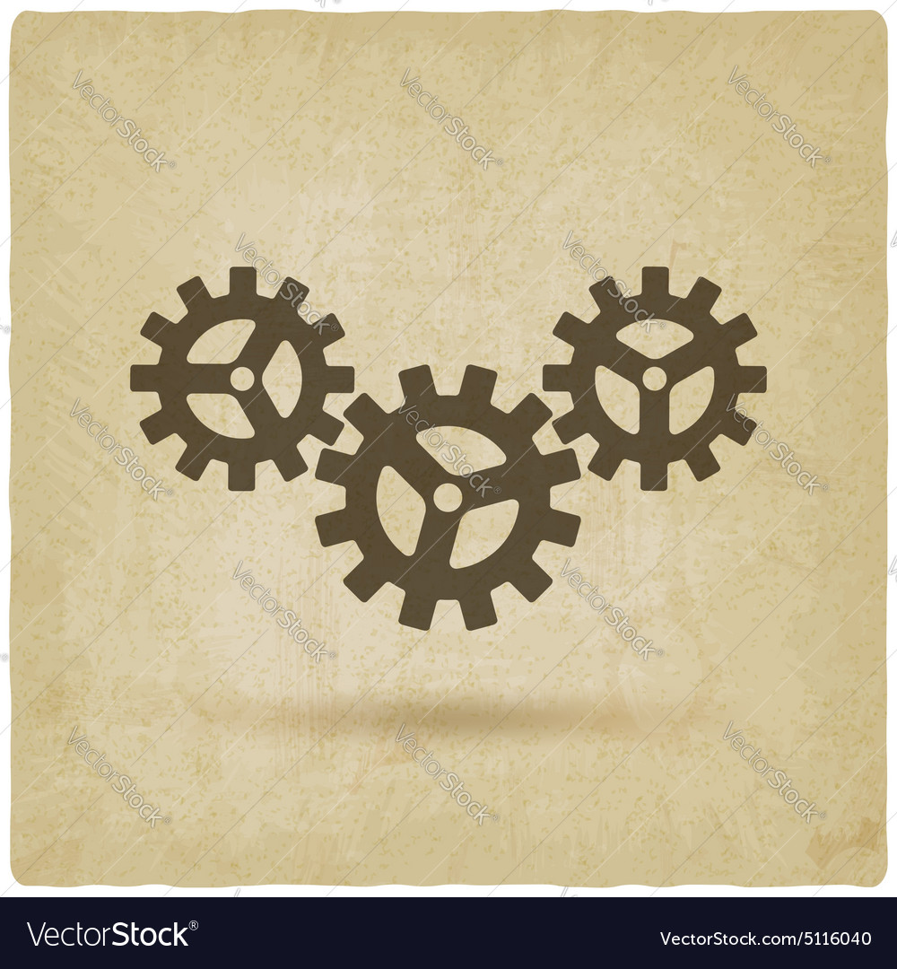 Gear connected symbol industrial concept
