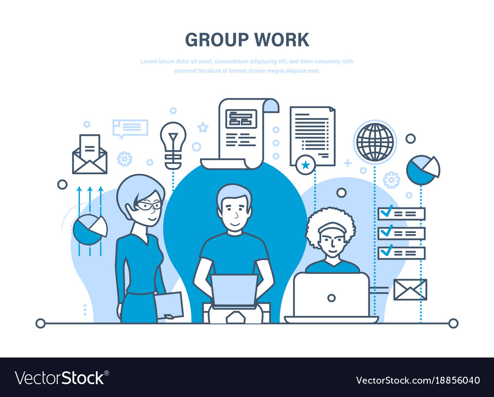 Group work people in office teamwork partners vector image