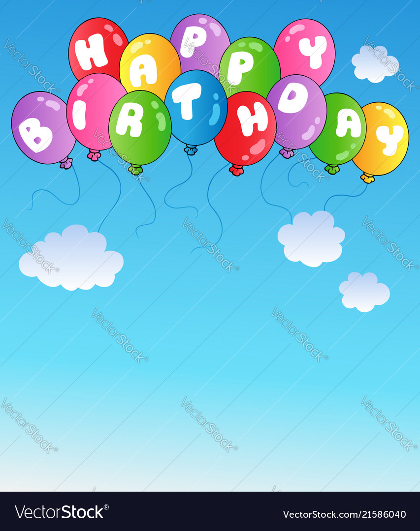 Happy Birthday Balloons On Blue Sky Vector Image