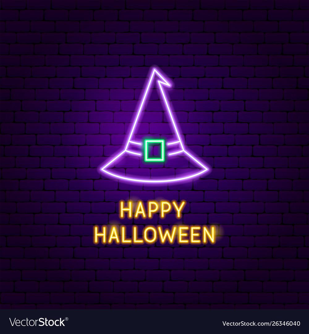 Happy halloween witch neon label