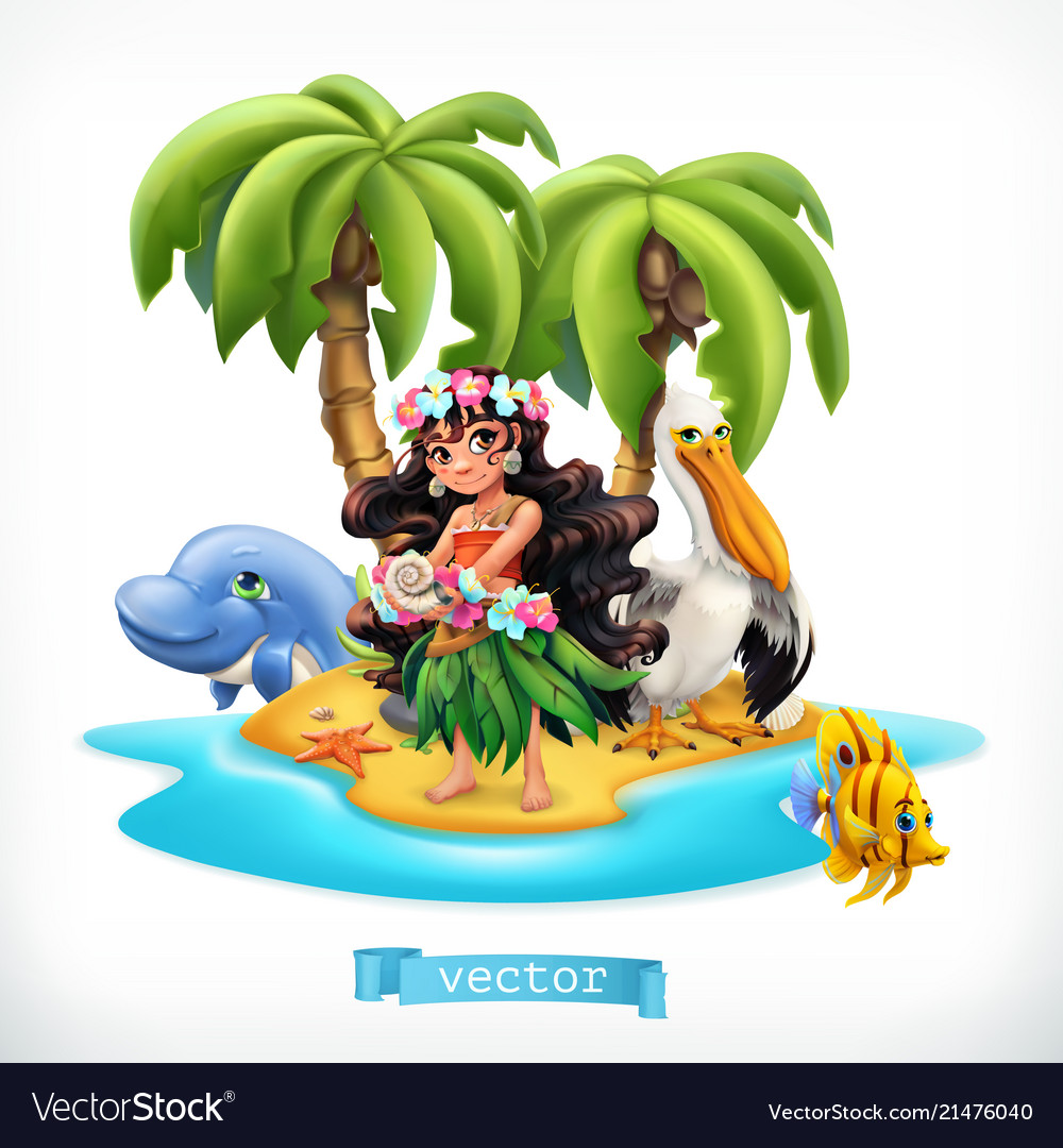 Little girl and funny animals tropical island 3d